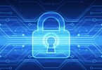 abstract technology security on global network background
