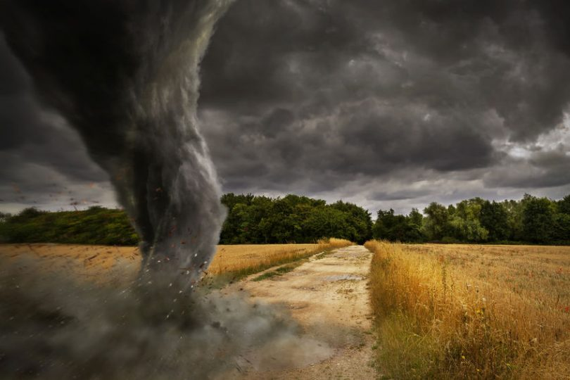 Tornado destroying landscape
