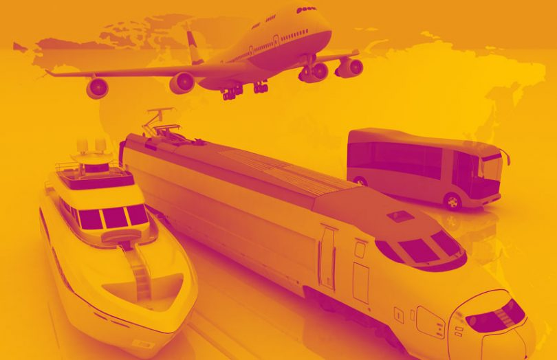 Transport plane, train, bus, boat