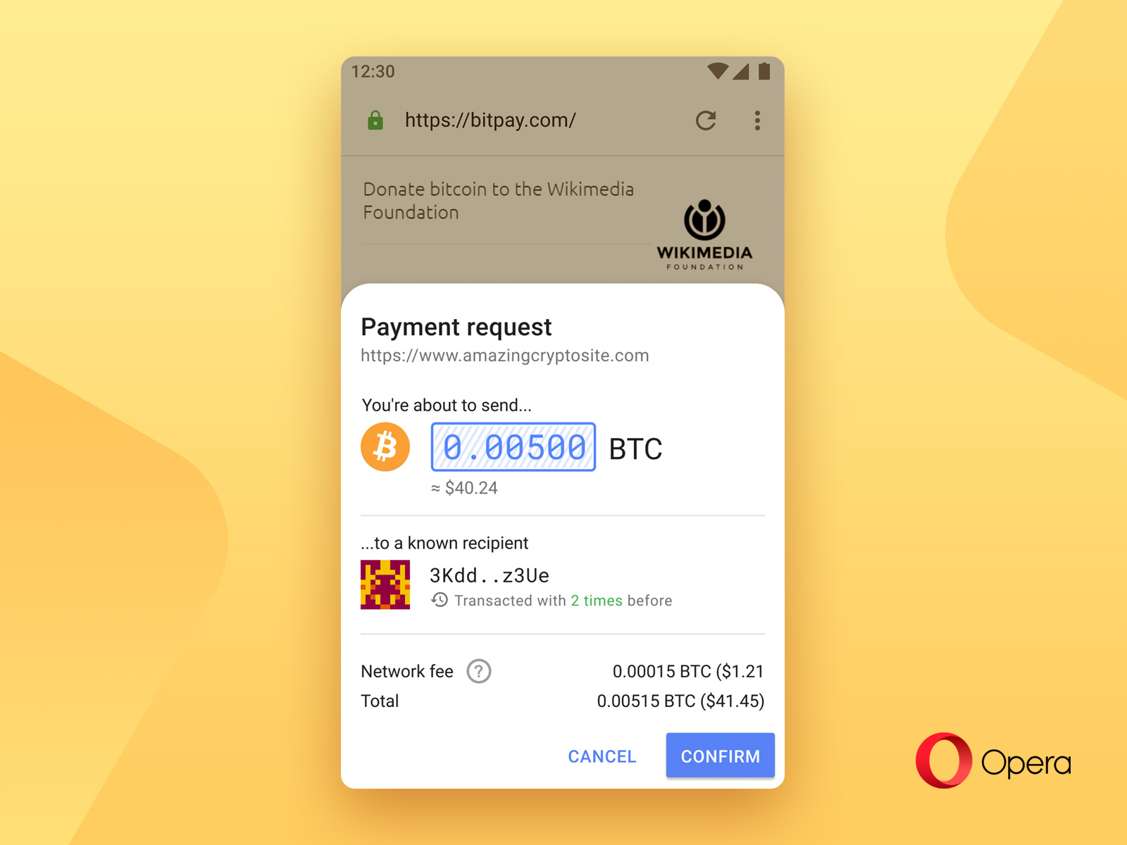 Opera to enable native Bitcoin payments