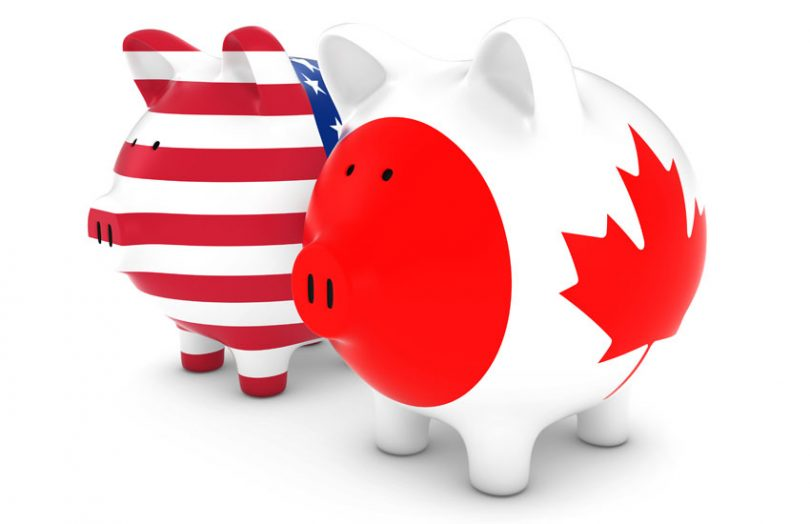 US canada flag currency piggy bank