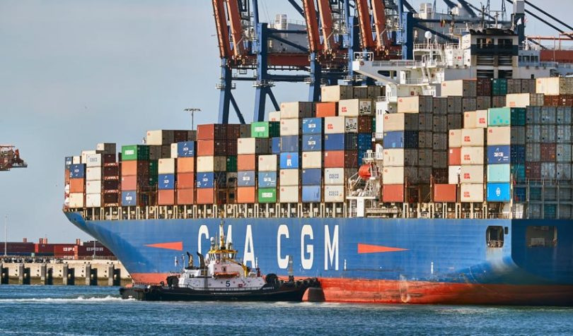 Port of Rotterdam container ship CMA CGM